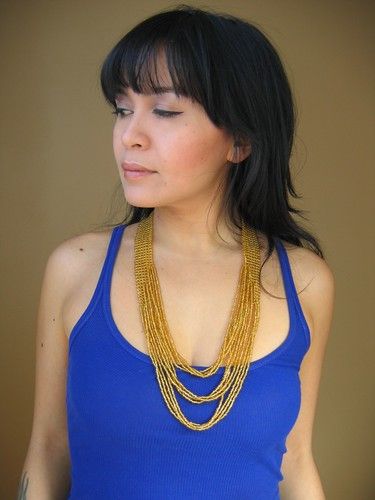 small 3 layer gold waterfall necklace