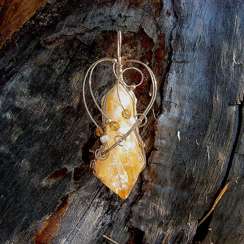 SUNKISSED - Gold Wire Wrapped Citrine Point Pendant. Healing Stone of Joy and Courage.