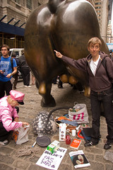 The Pile and the Bull (Lindsay Beyerstein) Tags: newyork color bush peace action outdoor manhattan protest peaceful bull demonstration wallstreet financial codepink economy liberal crisis mortgage bailout agitpop subprime 700billion