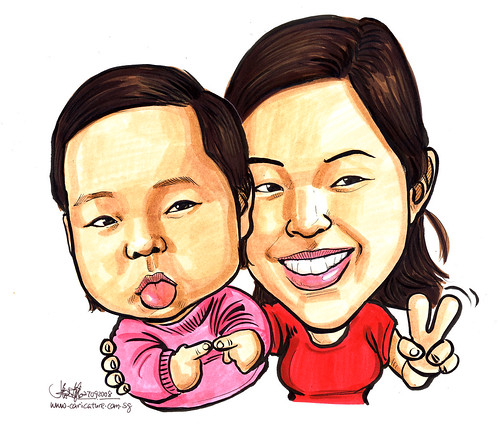 Caricatures of mother and daughter