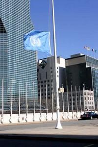 UN flag half mast