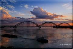Irrawaddy River Sunset (Ye Tun.) Tags: wood travel bridge sunset sky cloud color water canon river landscape pagoda boat asia land myanmar raft mandalay irrawaddy