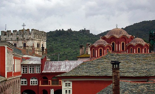 Tower and domes at Vatopediou Monastery