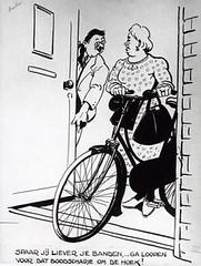 Cartoon met oproep tot sparen fietsbanden
