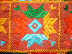 single bed cover II close up (KritIndia) Tags: bagh bedcover phulkari silkembroidery khaddar darnstitch