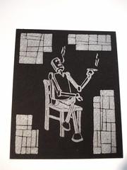 and the finished print... (jreidfive) Tags: print virginia robot etching cut smoking roanoke block linoleum press lino relazing
