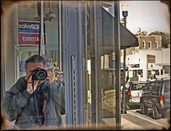 Streets of Excelsior - Self Portrait (FotoEdge) Tags: selfportrait reflections town storefront me canon colfaxlodge lodge flt 1885 temple 460 ioof funky broadway bonehead cracked museum excelsiorspringshistorical relics excelsiorinstitute gallery105 brickhouse brick 3littlepigs wafflehouse waffles eggs coffee syrup pecan hashbrowns excelsiorsprings donutking donut holes cream filled jelly powderedsugar