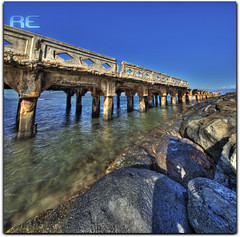 Lahaina Decay (Ryan Eng) Tags: ocean sea abandoned water diamonds hawaii pier rocks decay bluesky maui hdr lahaina sigma1020mm digitalblending brokenpier nikond90 vertorama ryaneng ryausting