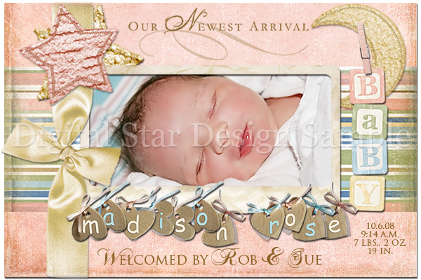 Birth Announcement Sample 2, 6x4 (web size)