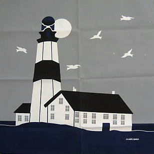 Marushka - lighthouse (square, gray, blue, black, white)