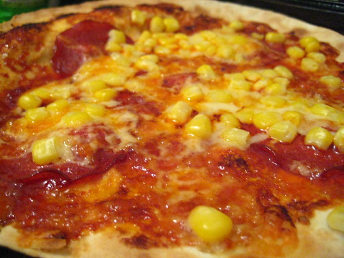 Homemade Pizza - Salami, Sweetcorn and Smoked Cheddar with BBQ Sauce