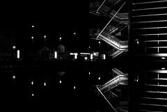 Nocturne Nantes (janbat) Tags: light bw reflection water architecture night 35mm nikon eau lumire nb reflet f2 d200 nikkor nuit escalier nantes escaleras cio lampadaires stairecase jbaudebert