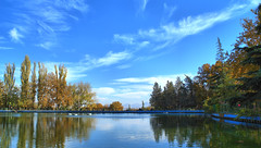 Sky and Clouds, Trees and Lake, Mellat Park, Tehran, Iran (Persia) (eshare) Tags: park autumn trees sky cloud lake reflection tree fall clouds landscape persian iran lakes gimp persia iranian tehran  highdynamicrange iranians teheran  persians     mellatpark      urbanparks  hdrfromasingleraw sonyalphadslra100   sal20f28 dynamicphotohdrsoftware dphdr   100 sonyalpha20mmf28lens 2028