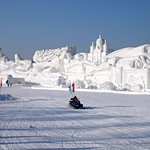 The world's largest snow sculpture,  'Romantic feelings', at the Harbin Ice and Snow Festival 2008