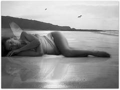 Narcissus (sosij) Tags: sea blackandwhite selfportrait reflection beach scotland wings 10 gulls gullane narcissus selflove vintageslip washeduponthebeach