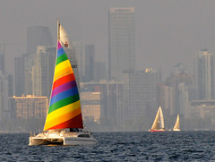 Sailboats & Bright Colored Catamaran Lit Up By Falling Sun Against Hazy Florida Weather Fogging Miami Skyline - IMRAN 10,000+ Views! 100+ Comments, 100+ Favorites! (ImranAnwar) Tags: blue sunset sun water boats sailing florida miami aircraft cruising catamaran boating helicopters sailboats hazy brilliant atomicaward