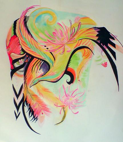 Phoenix and flower tattoo, back piece concept by yoso tattoo (www.yoso.