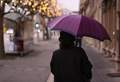 Umbrella (Gwenaël Piaser) Tags: luxembourg luxemburg lussemburgo lëtzebuerg luxemburgo canon eos 50d sigma 50mm umbrella purple bokeh 50mmf14exdghsm gwenflickr linkinternet street rue back black hat pedestrian pienton wakl rain walk walking 10000 city ville