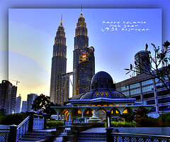 Happy Islamic New Year 1430 Hijriyah (Sayid Budhi) Tags: blue petronas bluesky malaysia kualalumpur hdr klcc happynewyear masque twintower maghrib masjidjami maalhijrah selamattahunbaruislam1430h happyislamicnewyear1430hijriyah