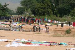 プッタパルティの川原では、洗濯物が盛大に干されていた。