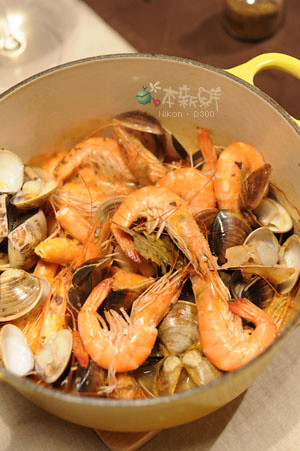 白酒蒸蛤蜊和無毒白蝦