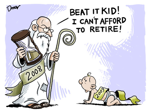 2009 new year economy cartoon