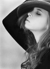 (Marielle B-R) Tags: bw white black hat lady canon hair 50mm women texas br houston 18 marielle 50d reiersgard