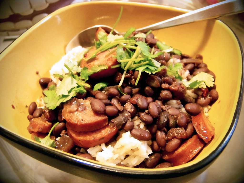 Black Beans in Adobo Sauce over Cumin Rice