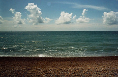 Brighton Neapolitan (monkeymillions) Tags: sea sky film beach brighton shingle zenit notthemostinnovativeofshots