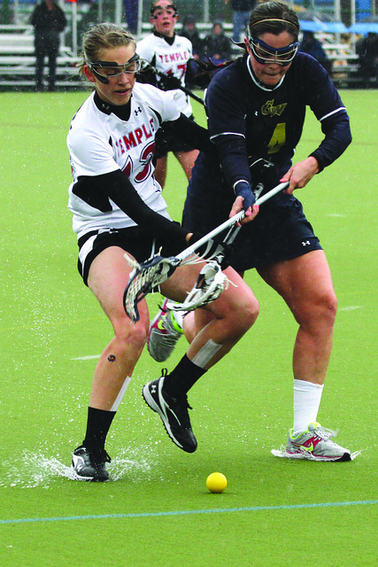 Temple's #13 Senior Attacker Ann Stouffer and George Washington's #4 Sophomore Defender Logan Healy