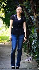 Look do Dia (DoceVidaFashion) Tags: jeans preta renda cala lookdodia