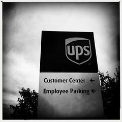 UPS Employee Parking (swanksalot) Tags: blackandwhite bw chicago sign ups iphone swanksalot sethanderson johnslens hipstamatic aobwfilm filmaobw
