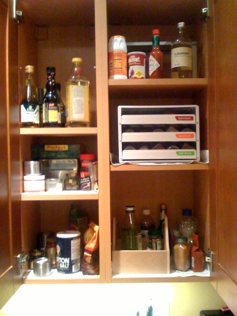 kitchen cure - spice cupboard before decluttering