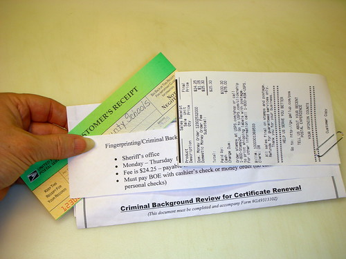 Year 2~Day 122 +093/366: Money Order Purchased for Fingerprinting and Criminal Background Check by Old Shoe Woman