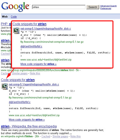 Google Code Snippets Now Available in Universal Search