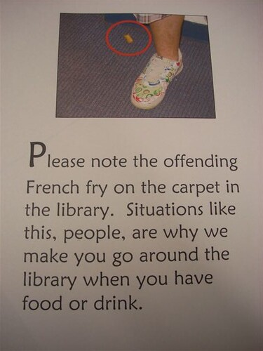 Please note the offending French fry on the carpet in the library. Situations like this, people, are why we make you go around the library when you have food or drink.