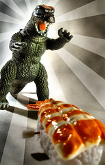 SUSHI ROLL! (olo) Tags: monster japan photoshop sushi toys tokyo random sashimi attack shrimp godzilla explore roll windup