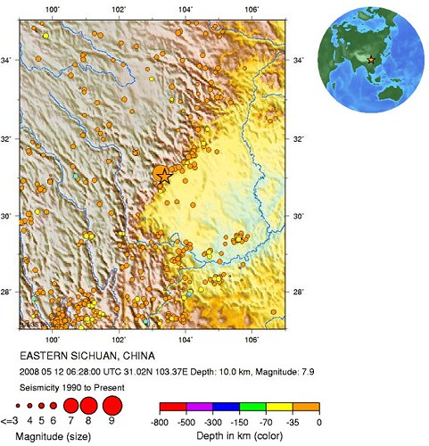 carte seisme chine replique