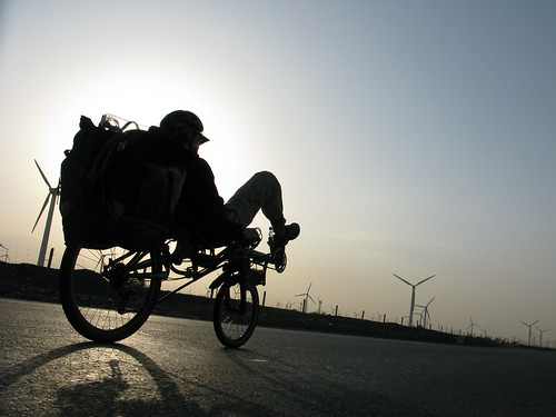 Marija on her recumbent near the Dabancheng Windfarm in Xinjiang Province, China