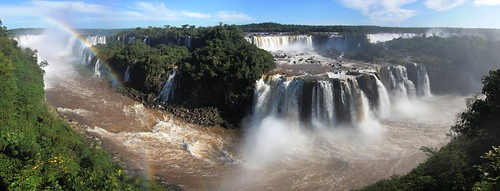 pano Iguazu Falls wide with rainbow