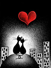 Carrying Your Heart With Me (Ben Heine) Tags: wedding wallpaper sky urban blackandwhite building art love animal illustration skyscraper cat watercolor print poster stars back hug chat energy honeymoon noiretblanc sweet postcard horizon lot marriage meeting coeur romance relationship amour fate destiny future points marta forever chance dots pulse common coincidence copyrights a