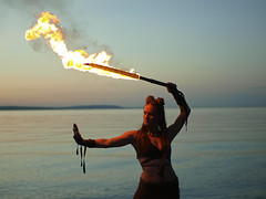 Jess and the flaming sword. (Jackie Baisa ~ Photographer) Tags: woman fire costume sword pugetsound firedancer firestarter