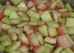 watermelon rind soaking in brine