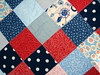 girls red blue patchwork quilt detail