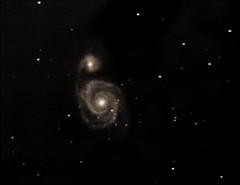 M51-Whirlpool Galaxy on 8/10/08 (FlintstoneStargazer) Tags: stars galaxy astrophotography astronomy m51 whirlpoolgalaxy lxd75 messierobjects dsiii