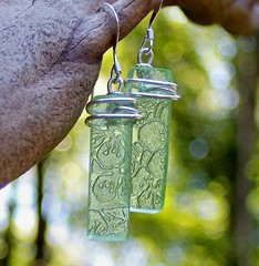 Green Depression Glass Earrings (Bottledupdesigns) Tags: history glass amber necklace recycled handmade antique unique craft jewelry earrings ruby recycle cobalt clorox repurpose greendepressionglass upcycle noxzema pinkdepressionglass wwwbottledupdesignscom