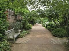 Lush Peace (slipgrove) Tags: brick wet bench vanishingpoint path september cbg englishgarden chicagobotanicgarden september5 slipgrove