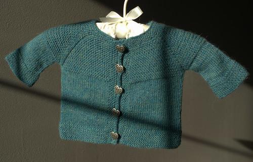 Garter Yoke Baby Cardi by Jennifer Hoel (Copyright Monahan/ Ravelry)