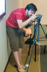 Loren Norman setting up videocast for AWE