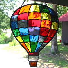 Stained glass hot air balloon (livingglassart home of oddballs and oddities) Tags: rainbow colorful bright stainedglass suncatcher hotairballoon etsy glassart